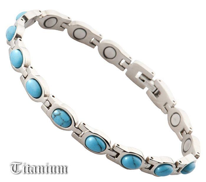 Женский магнитный браслет с бирюзой