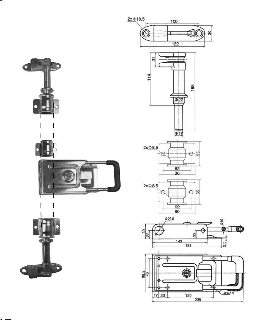 Запор штанговый 22 мм SS ручка Push нержавеющая сталь (Арт: 25315)