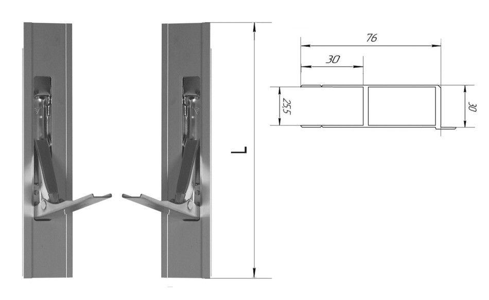 Стойка алюминиевая 600 мм (с бортиком) (Арт: 30600)