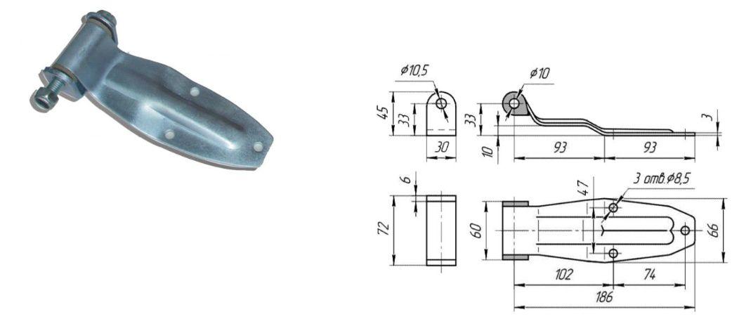 Петля заднего портала 190 мм Zn (Арт: 41051)