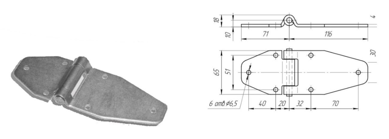 Петля 116 мм Zn (Арт: 41251)