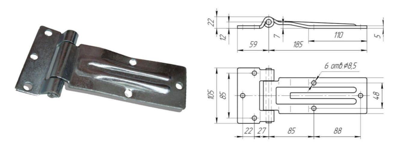 Петля бокового портала 185 мм SS (Арт: 41321)