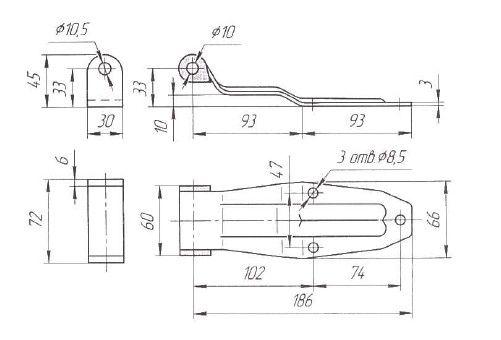 Петля ворот L=186 мм (Арт: 031200)