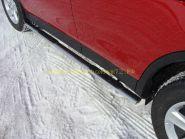Пороги овальные с накладкой 75х42 мм (TOYRAV 13-06) для Toyota Rav 4 2013 -