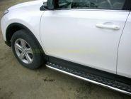 Пороги с площадкой  42 мм (TR 13-03) для Toyota Rav 4 2013 -
