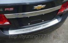 Накладка на задний бампер, с логотипом, нерж. сталь