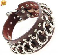 Кожаный браслет со стальными кольцами
