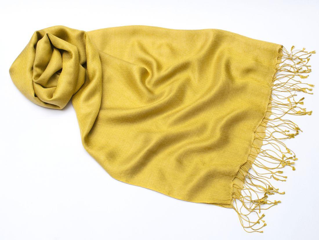 Жёлтый шарф-палантин из шелка с шерстью (отправка из Индии)