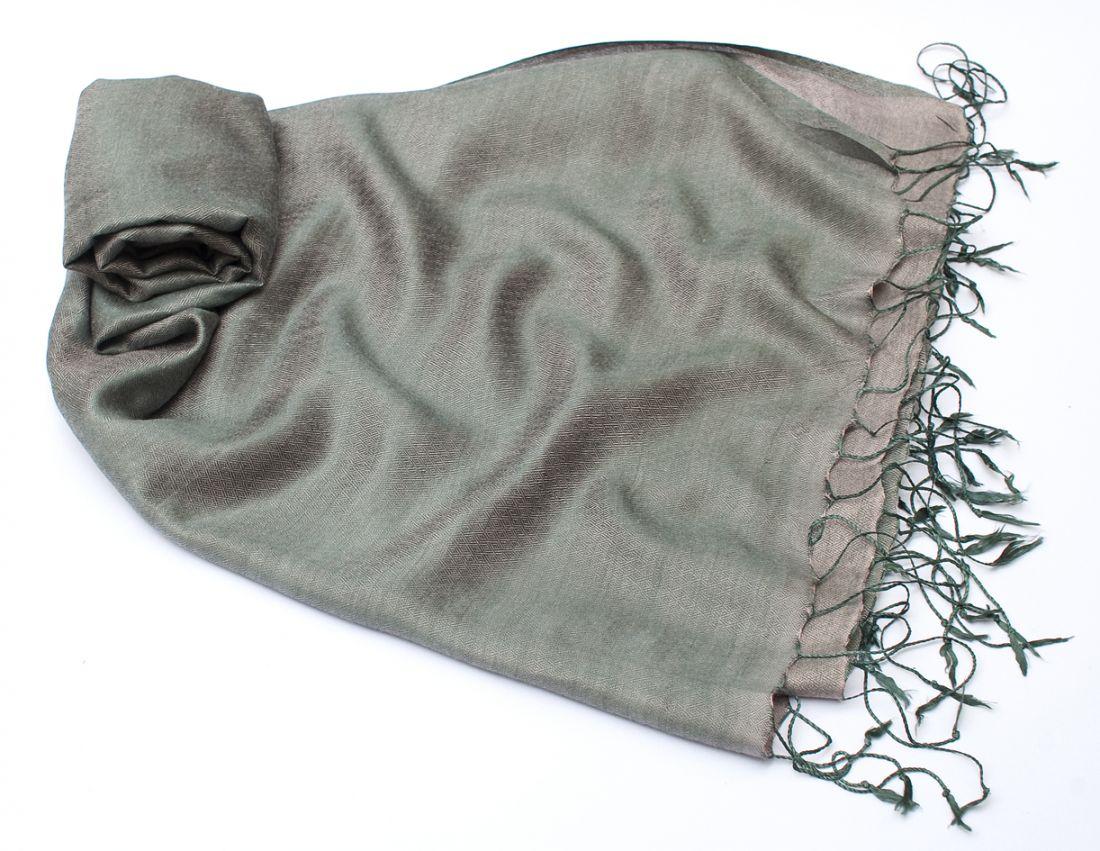 Серебристо-серый шарф-палантин из шёлка (отправка из Индии)