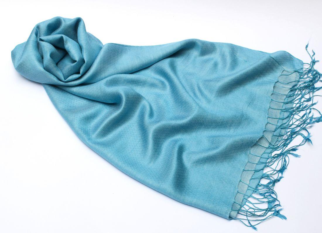 """Голубой шарф-палантин """"Шелковая нега"""" (отправка из Индии)"""