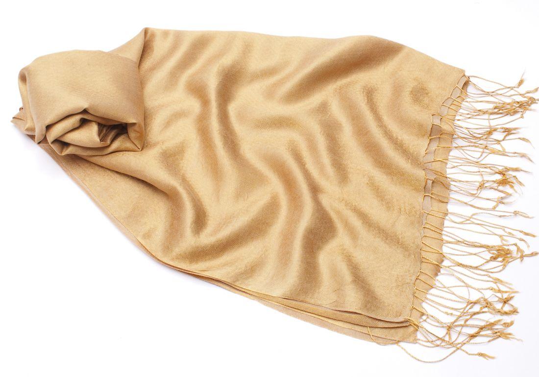 """Нейтральный кремовый шарф-палантин """"Шелковая нега"""" (отправка из Индии)"""