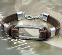 Кожаный браслет со стальной пряжкой