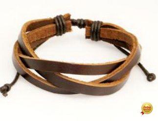Кожаный браслет из трех коричневых полос