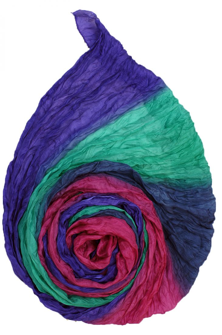 Голубой с розовым и фиолетовым шарф из шёлка (отправка из Индии)