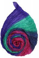 Голубой с розовым и фиолетовым шарф из шёлка