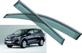 Дефлекторы окон (ветровики) с хром молдингом для Toyota Rav 4 2013 -