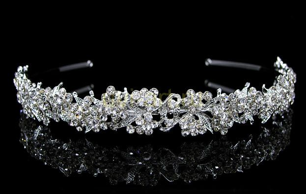 """Элегантная позолоченная белым золотом диадема невесты """"Floral beauty"""" с кристаллами Сваровски"""