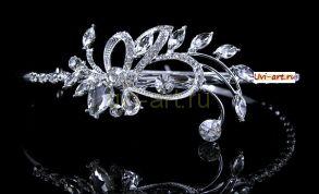 Элегантная позолоченная белым золотом диадема невесты с кристаллами Сваровски