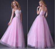 Розовое вечернее платье с пышной юбкой