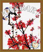"""Картина по номерам """"Четыре благородных цветка: Слива"""""""