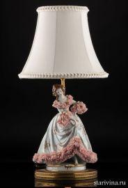 Лампа, дама в розовом, кружевница, Muller & Co, Volkstedt, Германия, до 1927 года., артикул 00987