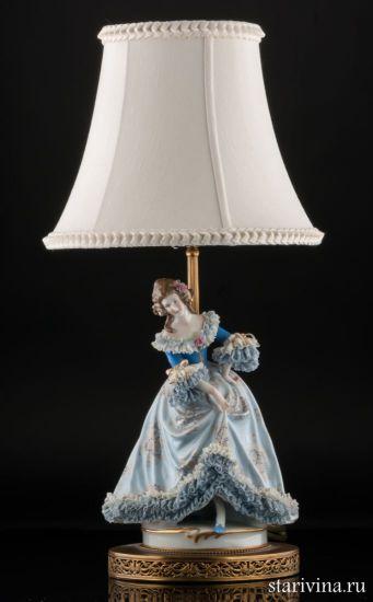 Изображение Лампа, дама в голубом, кружевница, Muller & Co, Volkstedt, Германия, до 1927 года