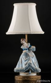 Лампа, дама в голубом, кружевница, Muller & Co, Volkstedt, Германия, до 1927 года., артикул 00988