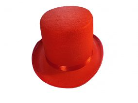 Шляпа цилиндр красный