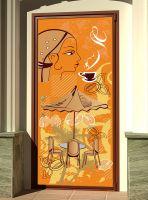 Виниловая наклейка на дверь -Кофе 5. Бразилия