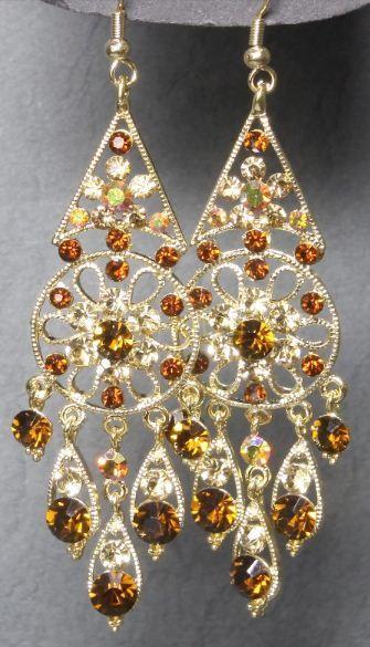 Стильные позолоченные шумящие серьги с кристаллами Сваровски