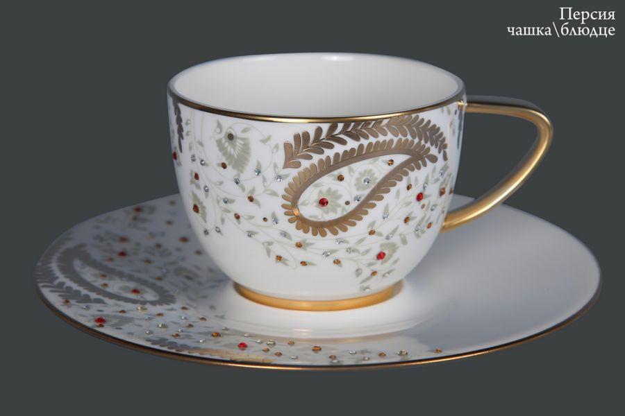 """Чашка с блюдцем """"Персия"""" (кристаллы Сваровски)"""