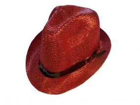 Шляпа красную блестящию летная унисекс