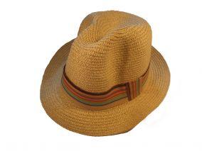 Шляпа песочного цвета с разноцветной лнточкой летная унисекс