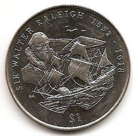 Сэр Уолтер Рэли (1552-1618) 1 доллар Виргинские Острова 2002