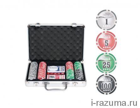 Покерный набор на 200 фишек «Nuts» (фишка 11,5 гр./алюминиевый кейс)