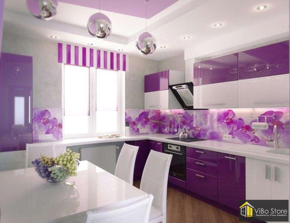Фиолетово-белая угловая кухня
