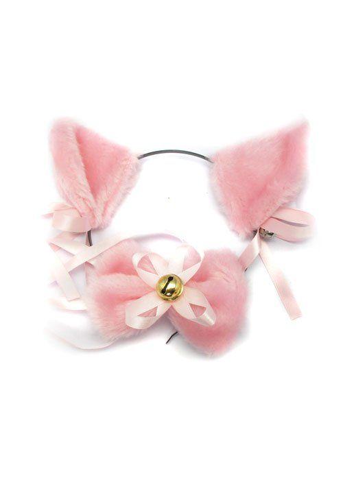 Ушки на ободке и бантик на шею розовые
