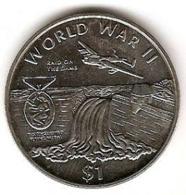 Вторая мировая война Налет на дамбу. 1 доллар Либерия  1997