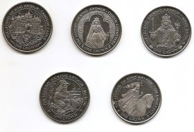 Легенда о Короле Артуре 1 крона Остров Мэн 1996 Набор из 5 монет