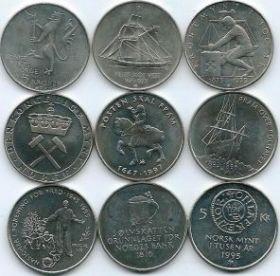 Набор монет Норвегии 5 крон 1975-1997