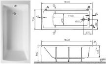 Акриловая ванна Vitra Neon 160x70 без гидромассажа