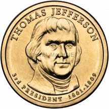 1 доллар США 2007 год Серия Президентские доллары Томас Джефферсон