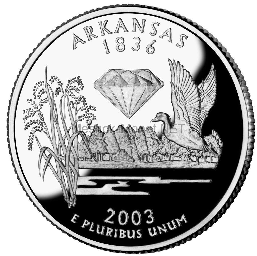 25 центов США 2003 штат Арканзас