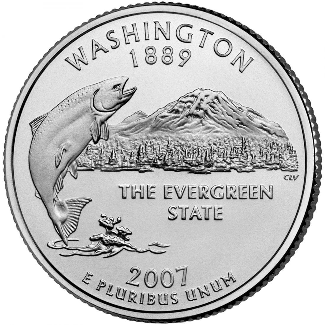 25 центов США 2007 штат Вашингтон