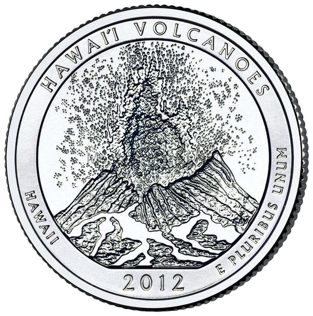 25 центов США 2012 Национальный парк Гавайские вулканы