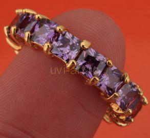 Оригинальное позолоченное кольцо с аметистами
