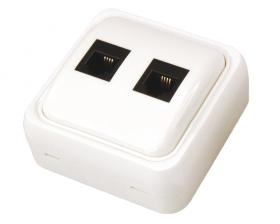 Телефонная розетка накладная - 2 6P-4C (2 порта) REXANT