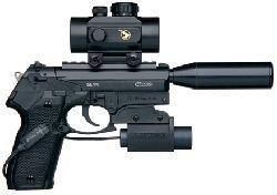 Пистолет пневматический GAMO PT-80 Tactical (прицел, фонарь, глушитель, калибр 4,5 мм)
