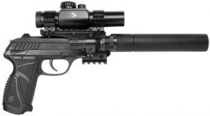 Пистолет пневматический GAMO PT-85 Tactical Blowback pellet (прицел, фонарь, лазерный целеуказатель, калибр 4,5 мм)