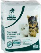 Mr.Gee Подстилки впитывающие для животных на гелевой основе 60*60 см (15 шт.)